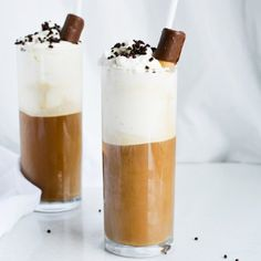 Decadent iced coffee with vanilla ice cream, whipped cream, sprinkles and a wafer roll!