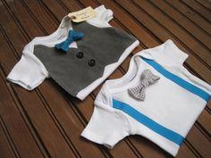Gray Corduroy Vest Onesie & Bow Tie Onesie