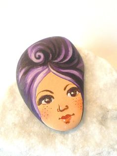 Painted stone cute painting on stone Beach pebbles by sabiesabi, $16.00