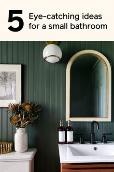Decorating a small bathroom? Don't be afraid to go bold with a moody paint color, like Current Mood.