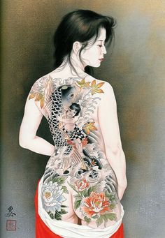 Kai Fine Art is an art website, shows painting and illustration works all over the world. Japanese Tattoo Art, Japanese Painting, Japanese Art, Body Art Tattoos, Girl Tattoos, Bodies, Japanese Illustration, Japanese Prints, Japan Fashion