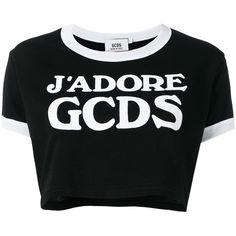 Gcds logo cropped T-shirt ($82) ❤ liked on Polyvore featuring tops, t-shirts, black, cotton t shirts, logo t shirts, cotton tees, gcds and cotton logo t shirts