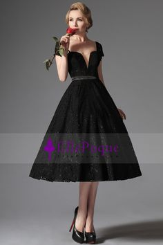 2015 Cap Sleeve A Line Lace Prom Dresses Tea Length