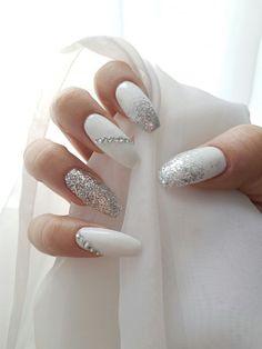 Prom nails White Fake Nails – Chrome Press On Nails – Bridal Nails – Almond False Nails – Hand Painted Nails – Clear glitter louis vuitton nails White Coffin Nails, White Acrylic Nails, White Nail Art, White Nails, White Art, White Manicure, Acrylic Gel, Diamond Nail Designs, White Nail Designs