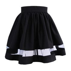 Black Mini Skirt with Sheer Panel ($70) ❤ liked on Polyvore