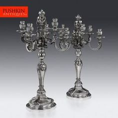 ANTIQUE-19thC-FRENCH-SOLID-SILVER-PAIR-OF-SEVEN-LIGHT-CANDELABRA-A-AUCOC-c1890
