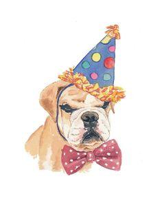 Dog Watercolor - Pug Watercolor, Happy Birthday, Original Painting, Dog Art. $40.00, via Etsy.