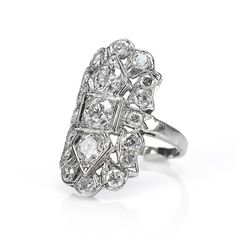 STUNNING!!  14K White Gold Vintage Diamond Pave Rectangle Ring