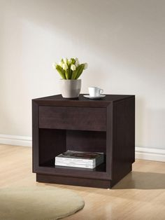 Baxton Studio Girvin Brown Modern Accent Table and Nightstand | Interior Express