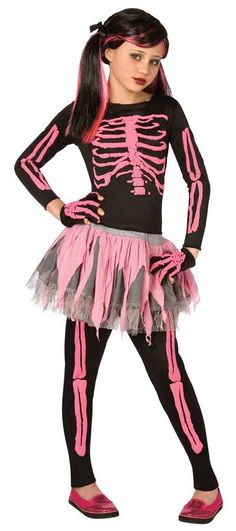 Black top and pants with imprinted pink skeleton comes with tutu skirt and matching skeleton gloves. Child small sizes 4-6. 100% polyester.