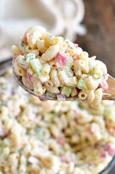 You can't have a BBQ party or a potluck without some delicious Macaroni Salad. This is our favorite Macaroni Salad full of red onions, celery, bell peppers, herbs, and of course, delicious creamy dressing. #pasta #macaroni #salad #bbq #bbqsides #bbqsidedish Homemade Macaroni Salad, Macaroni Salad Ingredients, Best Macaroni Salad, Wine Recipes, Snack Recipes, Cooking Recipes, Salad Recipes, Kraft Recipes, Pasta Recipes