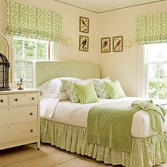 """Mixed Patterns... What might seem like a pattern overdose comes together beautifully when you use a single color. In this bedroom, a pale green unifies the heavily patterned space."" as shown in Coastal Living's Our 17 Favorite Green Rooms. (Did we mention that we love green?)"