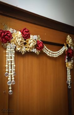 icu ~ Pin on Hangings ~ This Pin was discovered by Parul Patel. Diwali Decoration Items, Thali Decoration Ideas, Diwali Decorations At Home, Festival Decorations, Handmade Decorations, Thanksgiving Decorations, Door Hanging Decorations, Flower Decorations, Stage Decorations