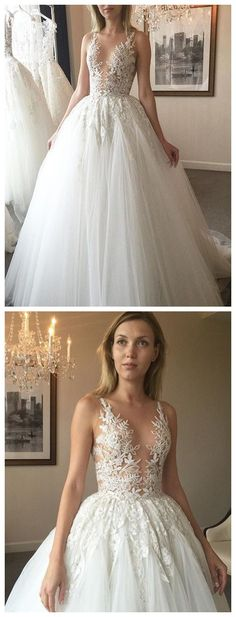 Bohoprom luxury appliqued long ball gown wedding dresses, made of tulle and embellished with appliques, romantic wedding dress, #weddingdresses #bridaldress #ballgown #bohoprom