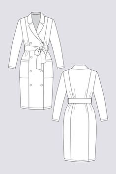 Pilvi Coat Dress - Named Dress Illustration, Fashion Illustration Dresses, Fashion Design Portfolio, Fashion Design Sketches, Trench Coat Outfit, Coat Dress, Named Clothing, Dress Making Patterns, Dress Sewing