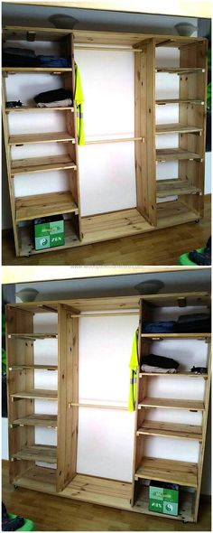 Are you fed up of having same ordinary-looking wooden furniture items present at your home, if yes and looking for an appealing wardrobe cabinet but also demands to have cheap in cost then craft this wonderful wood pallets wardrobe project for your bedroom. This is not only good enough for storage but also made with cheap price useless wood pallets that you can afford easily.