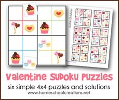 Six simple 4x4 Sudoko puzzles for kids for Valentine's Day from Homeschool Creations