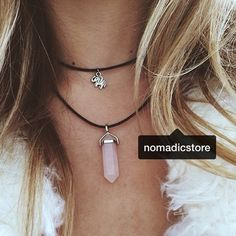 :: Our Rose Quartz Chokers & Necklaces have been fully restocked! Here's @cctylr layering hers with the Dainty Elephant Choker / Don't forget to tag us in your photos to be reposted! ::