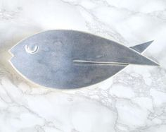 FISH ceramic dish oyster grey glaze, porcelain soap dish, counter top, bathroom accessory, pisces