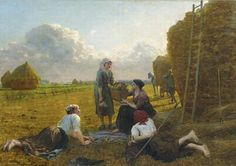 """Jules Breton - """"Dans la Plaine"""" - """"In the Plain"""" Notes: Jules Breton painted Dans la Plaine for the 1896 Salon, where it was applauded by both critics and visitors alike"""