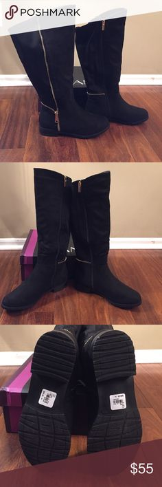 Lane Bryant zipper black boot Lane Bryant zipper black boot. Faux suede. Inside zipper. With outside gold zipper accent. Heel is 1 inch. Wide calf. Material at back of boot adds some extra stretch. New never worn. Comes with box. Slight defect shown in last photo. Price reflects defect. Size 9 wide Lane Bryant Shoes