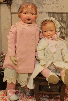 "Huge 30"" 1915 Elektra Antique Composition Cloth Jointed Vintage Old Doll 