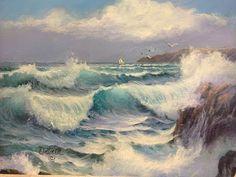 Joyce Ortner Seascape Painting In Progress