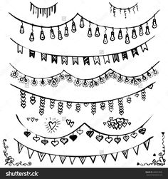 Doodle set - bunting and garlands. Set of decorations. Flags and lights. sketch frame.