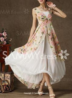 Elegant Floral Printed Sleeveless Double-Deck Chiffon Maxi Dress For Women