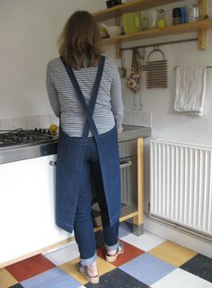 House Apron No 4. Dark Blue Denim. Womens - Medium. Crossover back apron - no ties - white top stitching.