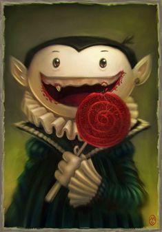 Un vampir molt golós. Es quedarà mellat, desdentat. Anem en compte amb les llepolies i la caiguda de les dents. (il·lustració d' ...
