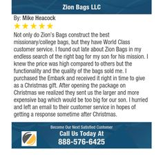 Not only do Zion's Bags construct the best missionary/college bags, but they have World...