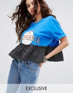 Reclaimed Vintage Inspired Varsity T-Shirt With Contrast Frill - Blue Latest Fashion Clothes, Diy Fashion, Fashion Outfits, Womens Fashion, Fashion Design, Personalized T Shirts, Casual Elegance, Diy Clothes, Remake Clothes