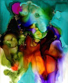 "Katherine Smith-Schad; Ink 2013 Painting ""Turqouise Flow"""