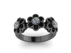 Black and White Diamond Band Flower Design Band 14K Black Gold Flower Ring - V1088 on Etsy, $1,095.00