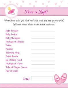 Free Printable Baby Shower Guest List 8 Free Printable Baby Shower Games For Girls  Baby Shower Games