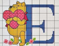 winnie the pooh E Cross Stitch Letters, Cross Stitch For Kids, Beaded Cross Stitch, Cross Stitch Baby, Cross Stitch Charts, Cross Stitch Embroidery, Disney Stitch, Winnie The Pooh, Crochet Alphabet