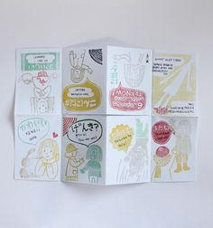 by Riyo Kihara of Talk to the Wind and Sun. All the illustrations in this zine have been done with rubber stamps that Riyo has hand carved herself.