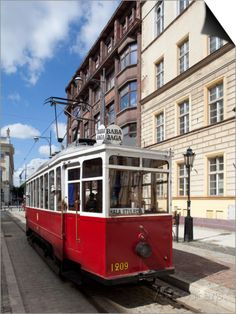 City Tram in Old Town of  Wroclaw ~ Silesia, Poland