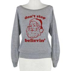 HUMAN Santa: Dont Stop Believin Athletic Grey Raglan