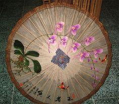 Orchid Bamboo Paper Umbrella