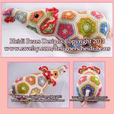 Heidi Bears: Nellie the Elephant African Flower Crochet Pattern available