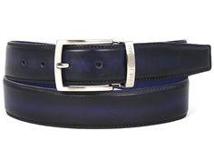 PAUL PARKMAN Men's Leather Belt Dual Tone Navy & Blue