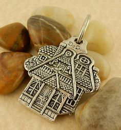 Treehouse, tree & house double sided Pewter Keychain Key tag
