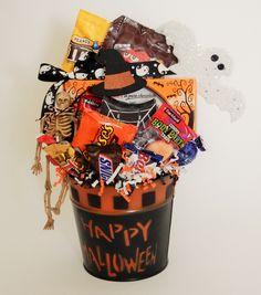 "Happy Halloween ""Boo"" Candy Bucket. Halloween Boo, Happy Halloween, Business Profile, Novelty Items, Gift Baskets, Floral Arrangements, Party Favors, Elf, Custom Design"