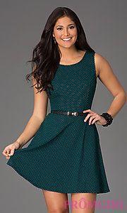 Buy Short Sleeveless Scoop Neck Print Dress at PromGirl