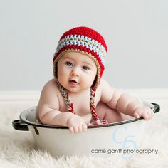 Newborn Baby Hat Ear Flap in Red Baby Blue and by DaddyMackHats, $24.00