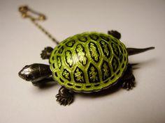 Antique German Victorian Edwardian Art Nouveau Jugendstil Meyle & Mayer 900 Silver Depose Guilloche Enamel Tortoise Turtle Brooch.