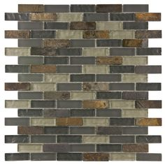 "EliteTile Sierra 0.875"" x 1.875"" Glass and Natural Stone Mosaic Tile in Wisp & Reviews 