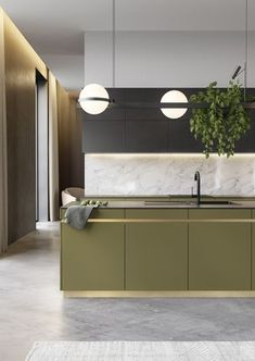 Kitchen design in green